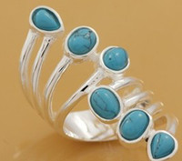 Wholesale silver elegance Chinese brake turquoise Gemstone Men Rings mix order