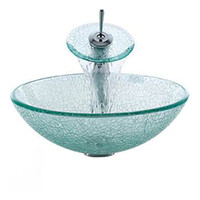 Wholesale Victory Transparent Tempered glass Vessel Sink With Waterfall Faucet