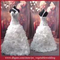 Wholesale Sexy Dew Fishbone Cloudup Sweetheart Sequin Crystal Pleat Lace up White Ball Gown Wedding Dress
