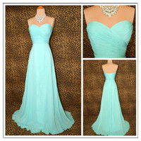 2014 New Mint Chiffon Beach Bridesmaid Dresses Lace up Ruche...