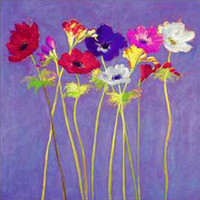 One Panel Oil Painting Abstract Pop Art Impression Purple Bottom Pop Flowers Handmade Home Decoration Painting Wall Art On Canvas