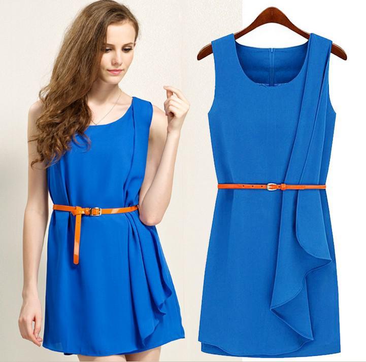 Dress irregular sweep one piece round neck with belt won dress dress