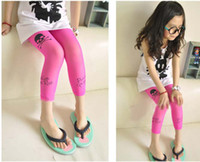 childrens wear - Childrens Candy Leggings Kids Wear Fashion Skinny Pants Girls Skull Printed Tights Cropped Trousers