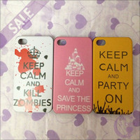 Wholesale New KEEP CLAM AND SAVE THE PRINCESS PARTY ON Pattern Plastic Hard Back Cover Case for iPhone S
