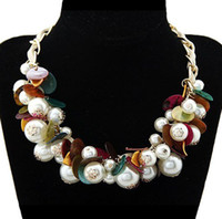 Wholesale 2013 New Chunky Gold Statement Chain Leather Tie Shell Pearl Pendant Choker Statement Bib Necklace