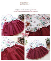 Wholesale dresses fashion kids floral dress Girls One Piece Dress long sleeve cut