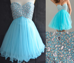Wholesale Stock Sweetheart Light Blue Graduation Dresses for th Grade College High School Tulle Sequins Ruffle A Line ShortHomecoming Prom Gown