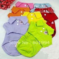 Wholesale Holiday Sale Mixed Colors Cotton Pet Dog Clothes TShirt POLO Dog TShirt Size XS S M L