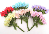 Wholesale of Artificial Silk Mini Calla Lily Foam Flowers Wedding Favor Box Craft Card Scrapbook Decoration