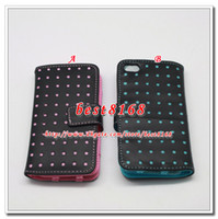 Wholesale Polka dot dots Wallet leather credit card bubble pouch purse cover pouches case skin circle For Ipod touch itouch5