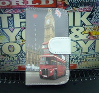 Wholesale Retro England london bridge eiffel tower flag style flip pouch leather PU case For iPhone S