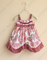 Wholesale Summer Girls Retro Butterfly Irregular Gymboree Suspender Dresses Vintage Flower Printed Girls Clothing