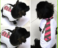 Wholesale 200pcs Fashion T Shirt Dog Apparel with Necktie Image clothes coat leisure clothing colorful pet dog apparel colthes