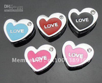Wholesale 50pcs mm mix color love heart slide charms DIY accessories fit mm Pet Collar Wristband f