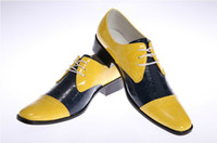 Wholesale Unique yellow gentleman Mosaic leather shoes men s casual shoes men s wedding shoes dress shoes