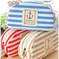 Wholesale A1127 Ladies Girls Striped Sailor Anchor Canvas Multifunction Pen Pencil Pockets Cosmetic Makeup Bags Cases Zip up Blue Red Khaki