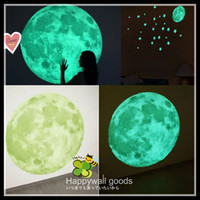 Wholesale Wall Sticker Glow Moon with Stars Children Room Home Decorations Removable Popular Hot selling dropship glow wall stickers new arriva