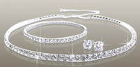 Wholesale Sparky Silver Plated Clear Rhinestone Bracelet Necklace and Earrings Weddng Jewelry Set