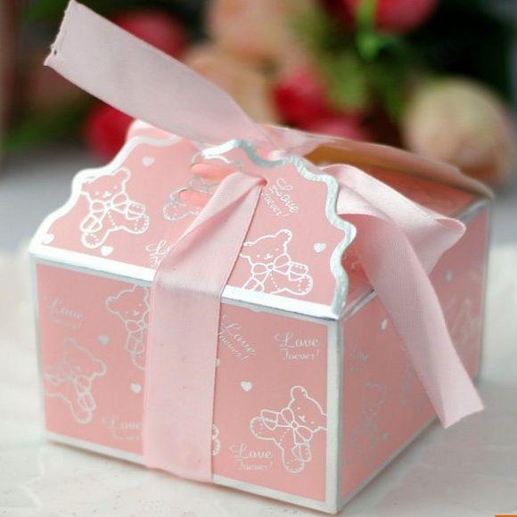 bear ribbon baby shower favor boxes birthday party gifts holder box