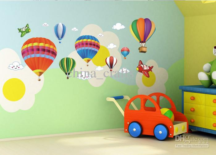 Wholesale Removable Hot Air Balloon Wall Stickers Airplane