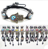 Wholesale Fatima Hand Crystal Enamel Turkey mm Blue Evil Eyes Beads Shamballa Bracelets Mixed