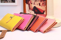 Wholesale Women s Candy Colored Buckle Style Wallet Purse Clutch Hand Bag WOMEN PU Leather Handbags Totes