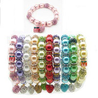Wholesale 10pcs New Shamballa Bracelets Crystal Pave Disco Ball Rhinestone Ring Beads Imitation Pearls with a Heart Pendant