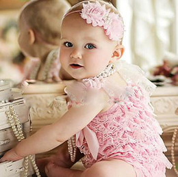 Wholesale baby clothes headbands posh petti rompers infant romper one piece coverall bodysuit hairband princess outfits lace coverall tutu shortall