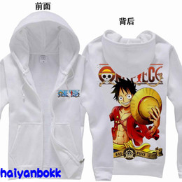 Wholesale Anime One Piece Luffy the New World Clothing Hooded Sweatshirt Cosplay Hoodie White S M L XL XXL