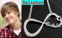 Wholesale 12x Justin Bieber Necklace Belieber Infinity Pendant Necklace Belieber Fans necklace JB Fashion Jewelry