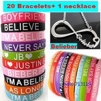 fashion belieber bracelet - 21pcs Justin Bieber bracelets justin bieber Belieber Infinity Pendant Necklace JB Fashion Jewelry