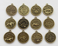 Wholesale 24PCS Antiqued bronze Zodiac Amulet Charms Pendant