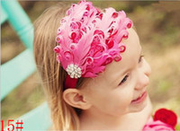 Wholesale PROMOTIONAL Baby Girl Hair Band Infant Toddler natural Feather Flower Diamond Headband Headwear fahsion