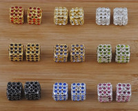 Wholesale DIY jewellery loose beads Czech Rhinestone hollowing bead Gold silver Plated Square Crystal beads Fit Charms Bracelets freeshipping