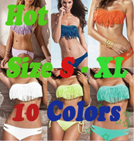 Women Bikinis Fringe Hot Sale ! 2013 New Sexy Lady Padded Boho Fringe Bikini Set Tassel Strapless Dolly Swimwear Women's Swimsuit Beach Wear Full Size S M L XL