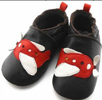 (3-4M) 10 yards red wing shoes - 15 off Red wings of the aircraft white black really leather baby shoes infant non slip soft bottom toddler shoes pairs