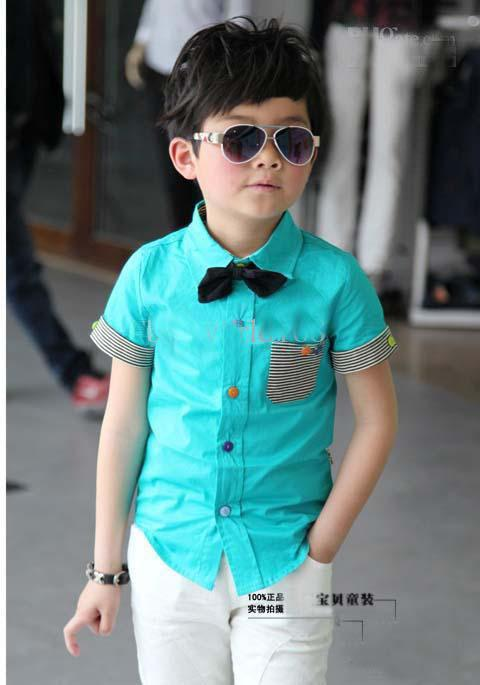 Boys t shirt with bow tie children stripe pocket casual for Casual shirt and tie