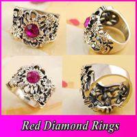 Wholesale Fashion Retro Flower Ring Quality Alloy National Anti Silver Diamond Gemstone Ring JZ075