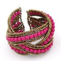 Wholesale The New Bohemian Style Three Colors Handmade Beaded Bracelet Opening Bracelet Charms KC