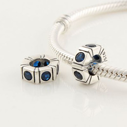 100% 925 Sterling Silver Blue Crystal Charm Bead Fits European Pandora Style Jewelry Bracelets Necklaces & Pendants