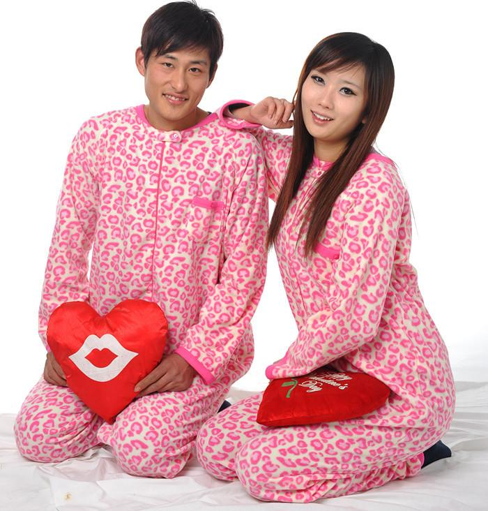 2017 New Pink Leopard Unisex Adult Footed Pajamas Onesie Sleepsuit ...