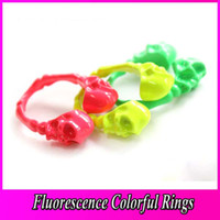 Wholesale Fluorescence Colorful Skull Head Enamel Ring Candy Colors Green Red Light Green Finger Ring Cheap Jewelry JZ0114