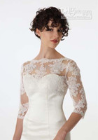 Wholesale Latest Bride Long Sleeve Lace Jacket White Ivory Bridal Bolero for Wedding Dress Party Formal