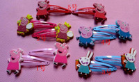 Wholesale 50pcs Baby girls hairpins Children Hair clips Peppa pig silicone Headhands Lovely doll girls accessories