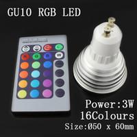 Wholesale AC V W GU10 E27 MR16 RGB LED Bulb Lamp Color changing led Spot light with Remote Control