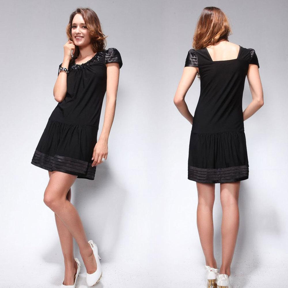 He02005bk Short Sleeve Black Casual Dress Lace Dresses For Juniors ...