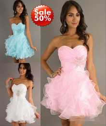 Wholesale 2013 White Blue Pink Hot sale Ball Gowns Organza Ruffles beaded Sweetheart Cheap fashion Homecoming Cocktail Prom Dresses gown Dress
