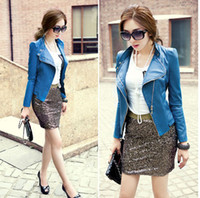 Wholesale 2013 HOT New Style Sexy Womens Ladies Double zipper Swallowtail Backswing PU leather Jacket Coat Outerwear leather Clothing