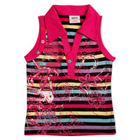 Wholesale N2645 Nova kids wear baby girls vest stripy cotton sleeveless tank tops with exquisite strass sequin stud embroidery and printing