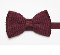 Wholesale solid color men s bow ties cravat wine red knitted tie knot neckties bowtie striped bows neckwear C6